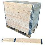 JBS basics ] Hochbeet Stecksystem Palettenrahmen Aufsatzrahmen [ 120 x 80 x 19,5 cm ] Stapelrahmen mit Metallbeschlägen [ Hochbeet Frühbeet Kompost Gartenbeet ] (6)